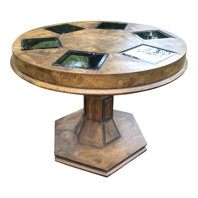 Mid Century Burlwood Pedestal Table With Inset Smoked Glass For Sale