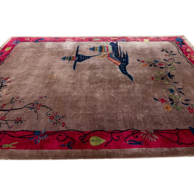 Vintage Purple Chinese Art Deco Wool Rug 9 Ft X 11 Ft 6 In. For Sale - Image 9 of 13