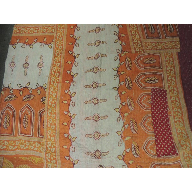 Boho Chic Vintage Orange and Red Hand Quilted Indian Throw For Sale - Image 3 of 8