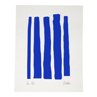 Contemporary Abstract Blue Lines Giclee Print, Framed For Sale