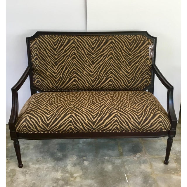 Stylish transitional Zebra Pattern Sette/Bench, opulent mahogany finished frame, fluted legs with ball feet, showroom...