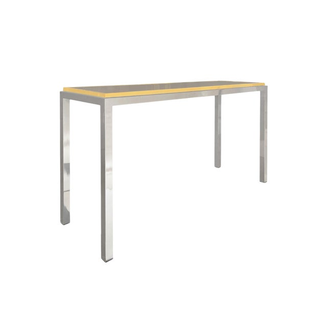 1970s Italian Brass and Chrome Console by Romeo Rega For Sale