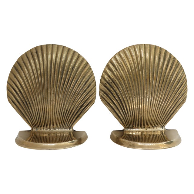 Vintage Brass Seashell Bookends - A Pair - Image 1 of 7