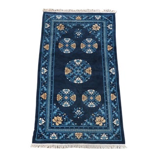 Hand Knotted Chinoiserie Blue and White Chinese Rug For Sale