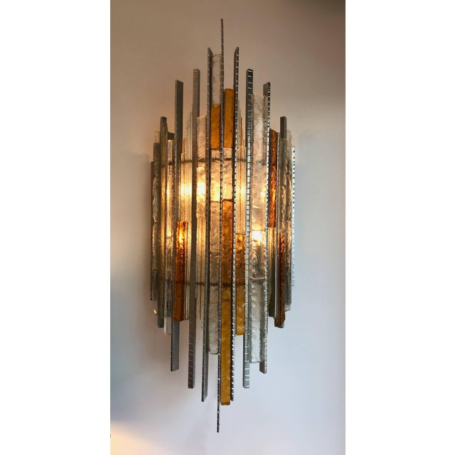 Pair of Sconces Hammered Glass Iron by Biancardi and Jordan Arte, Italy, 1970s For Sale - Image 9 of 12