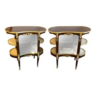 Pair of Louis XV Style Crotch Mahogany Vitrine Form End Tables or Night Tables For Sale