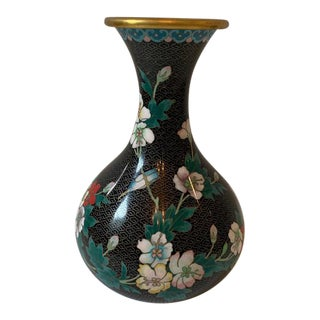 Gracie/de Gournay Style Cloisonne and Brass Vase For Sale