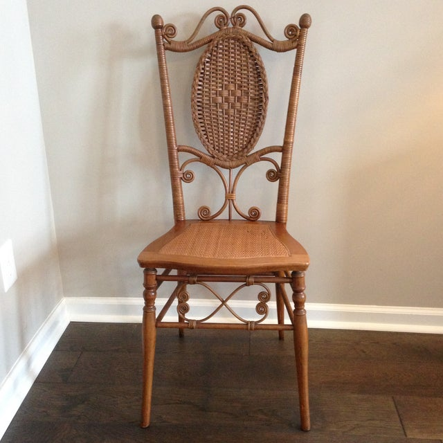 Heywood Brothers Wakefield Antique Victorian Wicker and Cane Chair For Sale - Image 9 of 9