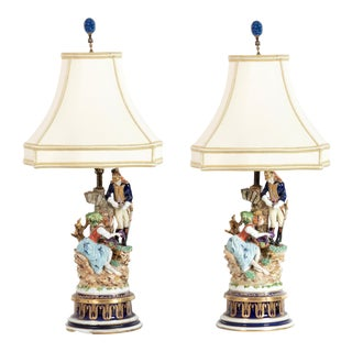 Antique Capodimonte Porcelain Figural Group Designer Lamps - a Pair For Sale