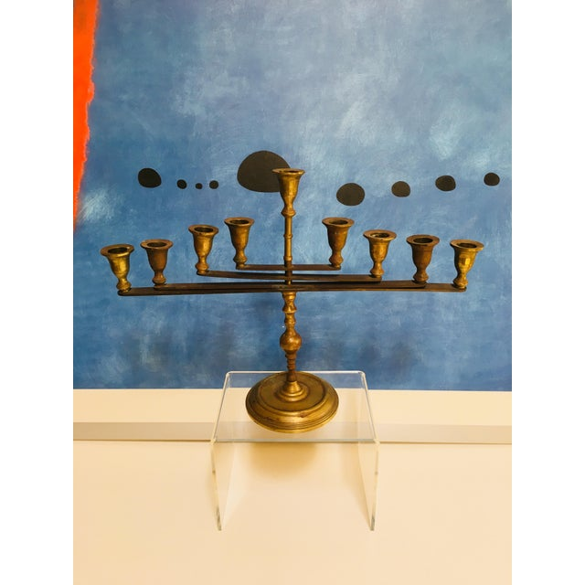 Mid-Century Vintage Articulating Brass Menorah For Sale - Image 9 of 10