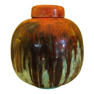 Vintage Mid-Century Drip-Glazed Ceramic Urn For Sale
