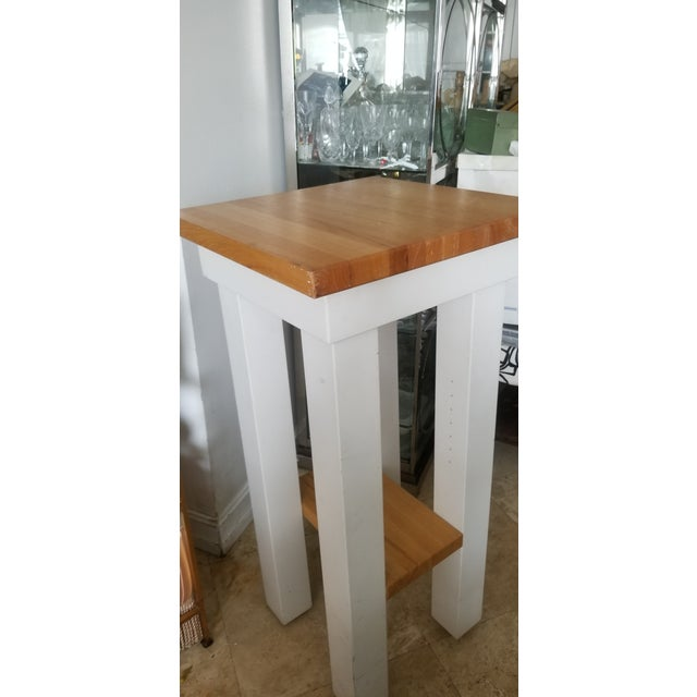 Small Butcher Block Tall Bar/ Island Table For Sale - Image 4 of 9