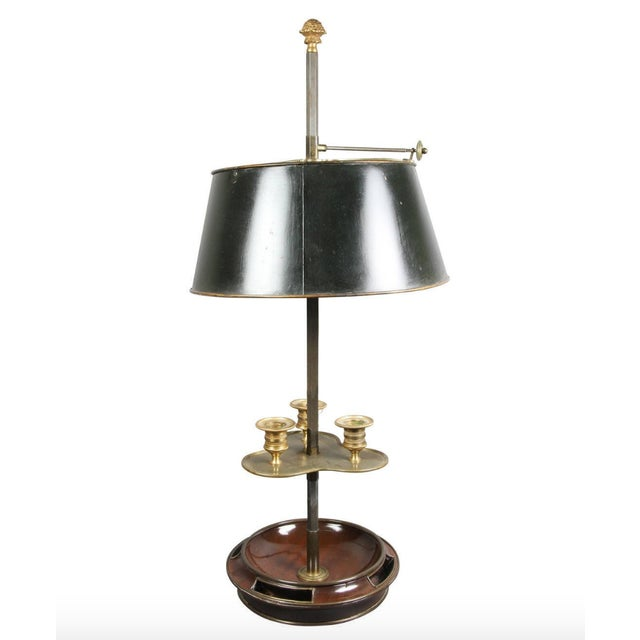 Empire Style Mahogany and Brass Mounted Bouillotte Lamp by Jansen, Paris For Sale In Boston - Image 6 of 6
