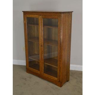 Antique Solid Oak Victorian Era 2 Door Bookcase Preview