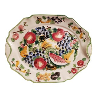 Mid 20th Century Italian Ceramic Raised Relief Fruit Motif Wall-Hanging Platter For Sale