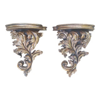 A Pair- Extra Large Gilded Gold Roccoco Decorative Wall Corbels