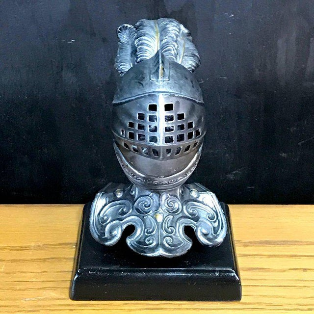Renaissance Tole Figural Knight Inkwell For Sale - Image 3 of 11
