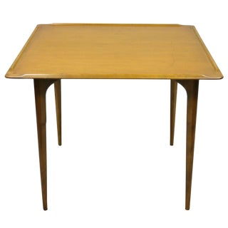 20th Century Danish Modern Square Small Walnut Sculpted Edge Game Dining Table For Sale