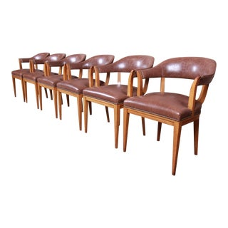 Edward Wormley for Dunbar Janus Collection Leather and Mahogany Dining Chairs, Set of Six For Sale