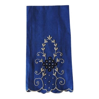 Vintage Blue and Black Bathroom Guest Towel For Sale