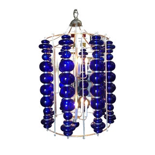 Modern Stacked Cobalt Glass Chandelier W/ Nickel Finish For Sale