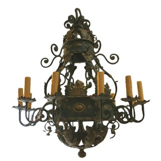 Early 20th Century Huge Wrought Iron Chandelier For Sale