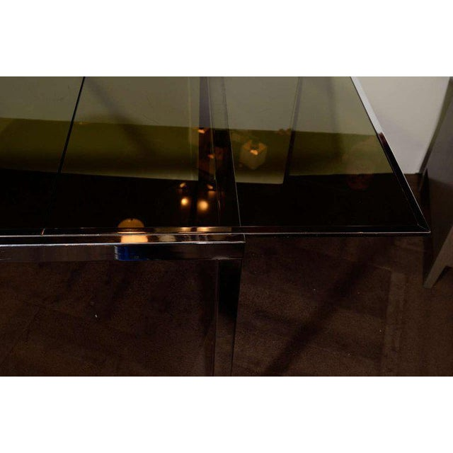 1970s Chrome and Grey Glass Extension Dining Table by Milo Baughman for Dia For Sale - Image 10 of 11
