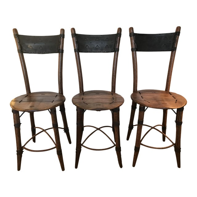 pacific green palmwood bar stools set of 3 chairish. Black Bedroom Furniture Sets. Home Design Ideas