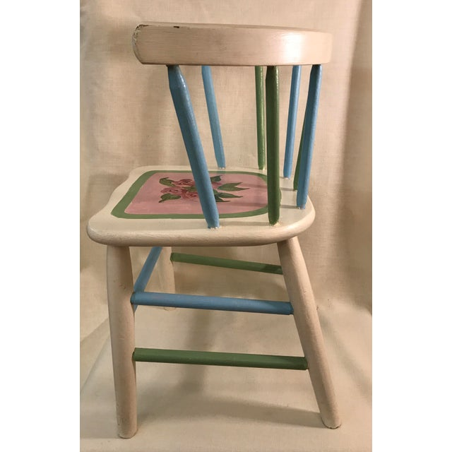 Painted Child's Spindle Chair For Sale In Dallas - Image 6 of 9