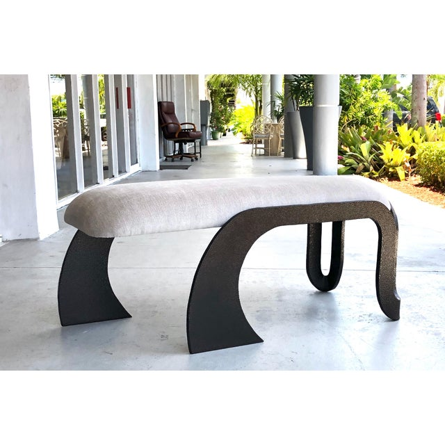 Pair of Abstract Modern Heavy Bronze Enamel Benches Ottomans, 1980s For Sale - Image 11 of 13