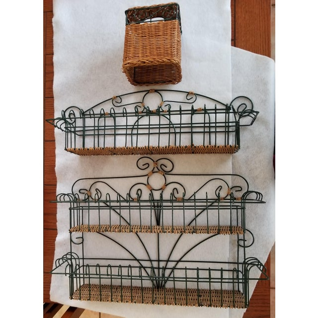 Late 20th Century Wicker and Green Metal Wire Wall Shelves - 3 Pieces For Sale - Image 9 of 9