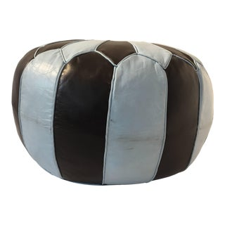 Vintage Mid Century Moroccan Round Leather Pouf Hand-Tooled in Marrakesh For Sale