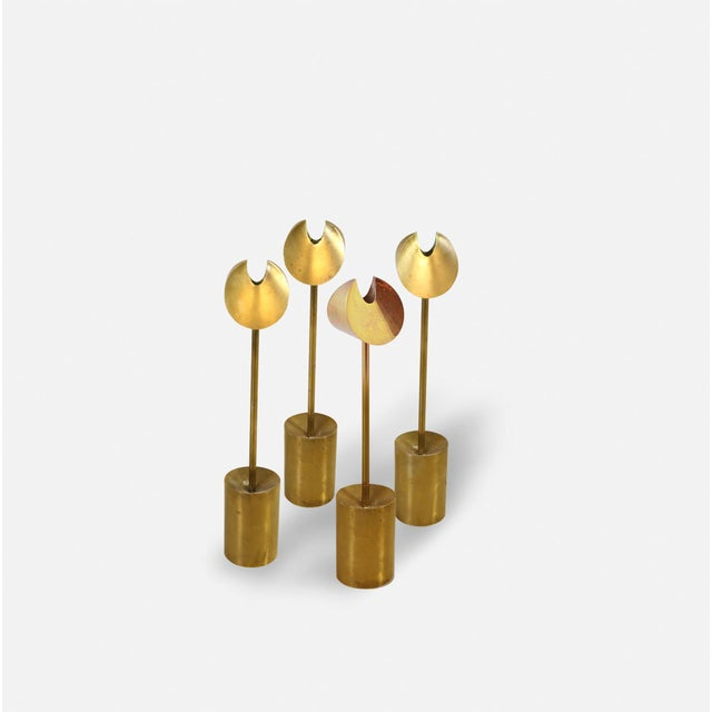 Rare solid brass candlesticks by Pierre Forssell for Skultuna, 1960s, Sweden. Height: 21cm. Priced per piece (per...