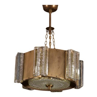 Danish Midcentury Glass, Brass Chandelier by Vitrika For Sale