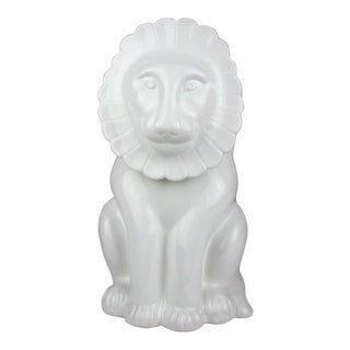 Vintage Italian Ceramic Lion Lidded Canister For Sale