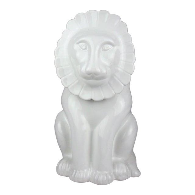 Vintage Italian Ceramic Lion Lidded Canister For Sale