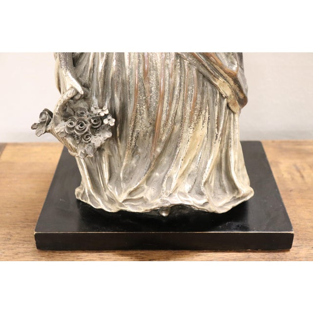 1930s 20th Century Italian Sculpture in Silvered Clay Figure of a Lady by B Tornati For Sale - Image 5 of 12