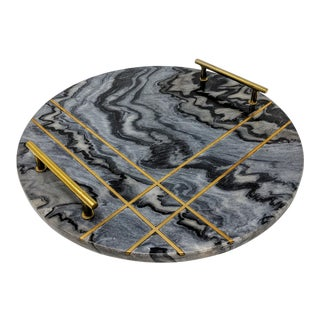 Gray Marble and Brass Circular Tray For Sale