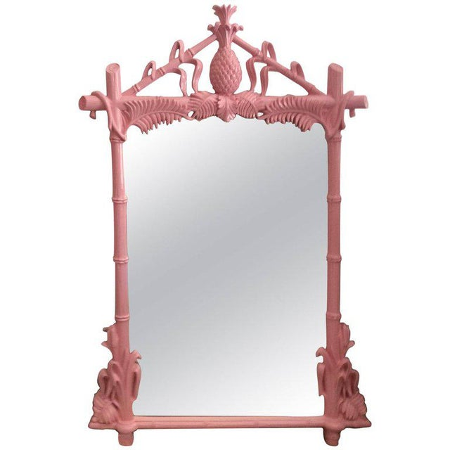 Gampel & Stoll Lacquered Flamingo Pink Faux Bamboo Wall Mirror - Image 10 of 10