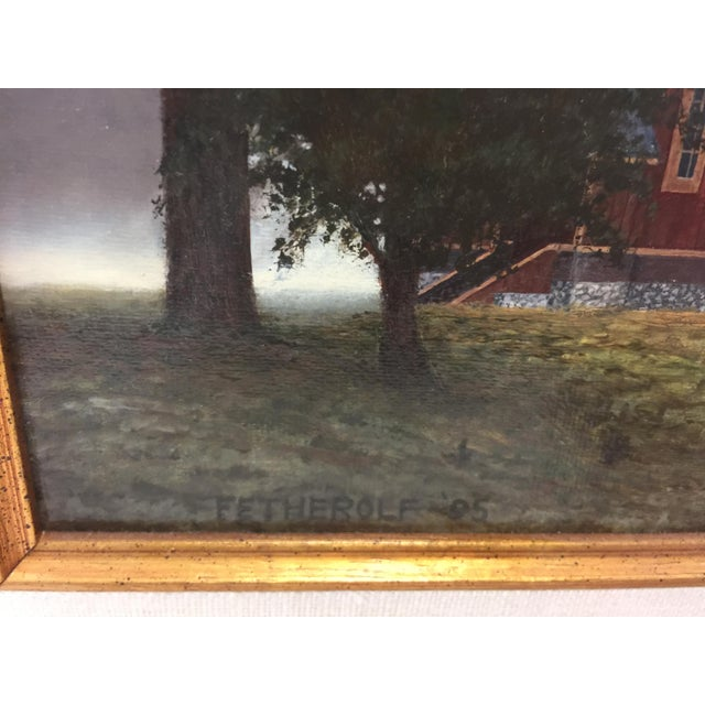1990s Fetherolf Oil Painting Little Red Church Yosemite For Sale - Image 5 of 7