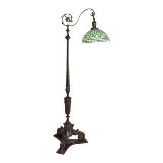 Restored Antique Carved Wooden Bridge Lamp With Shade For Sale
