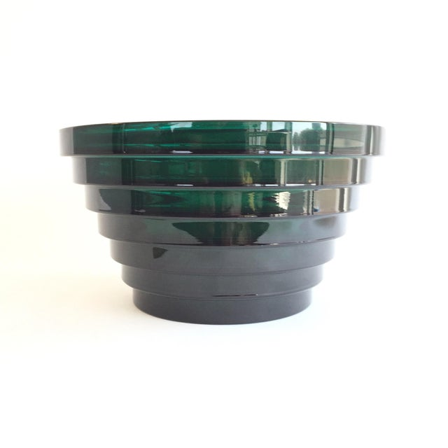 Beautiful clear green glass bowl with an intriguing step design. By Aino Aalto for Iittala