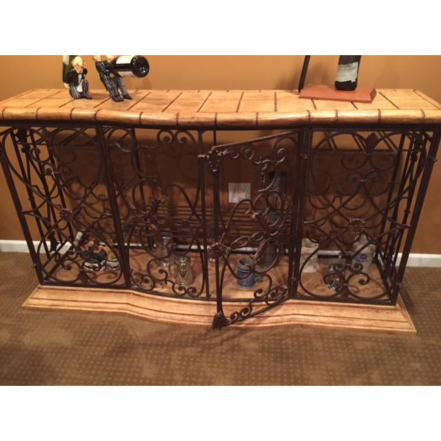 French Country Henredon Registry Collection Terra Cotta & Wrought Iron Console For Sale - Image 3 of 12