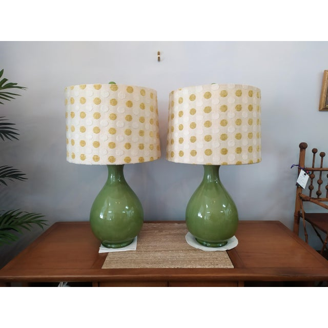 Ceramic Vintage Mid Century Green Lamps With Polka Dot Shades - a Pair For Sale - Image 7 of 7