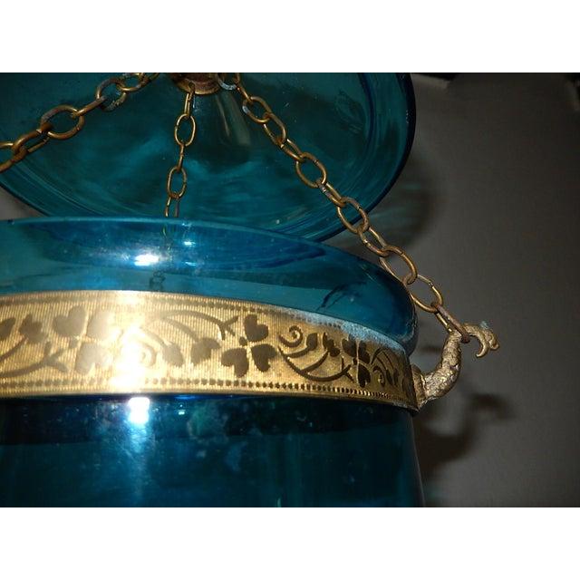 English Cobalt Blue Bell Jar Lantern Chandelier For Sale - Image 12 of 13