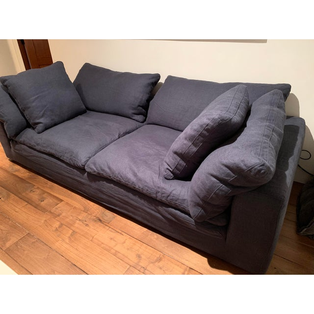 Blue Restoration Hardware Navy Cloud 2 Seat Down Sofa For Sale - Image 8 of 13