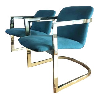 1950s Vintage Milo Baughman Style Teal Accent Armchairs - A Pair For Sale
