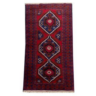 Red & Navy Medallion Pattern Tribal Hand-Knotted Rug - 3′4″ × 6′8″ For Sale