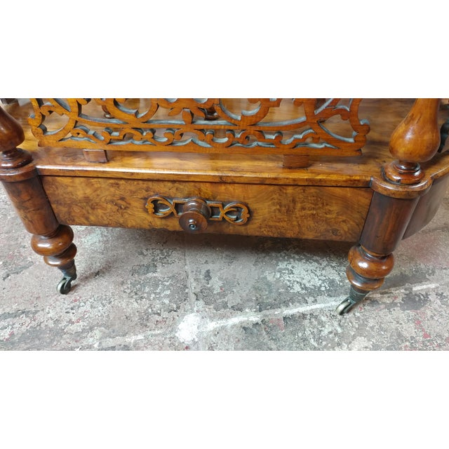 19th c. Georgian Carved Burl Wood Library Book Stand & Magazine rack For Sale In Los Angeles - Image 6 of 12