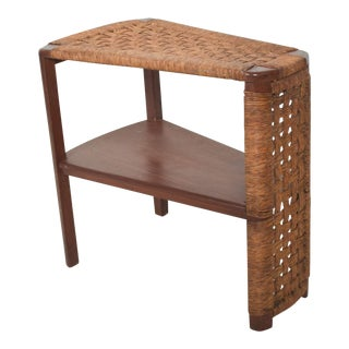 Danish Modern Vintage Side Wedge Table in Mahogany Wood Woven Rope Cord For Sale